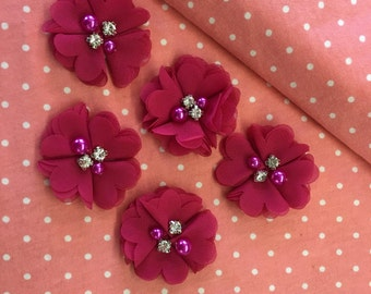 "2.5"" Magenta Chiffon Flower with Pearl and Rhinestone Center set of 5"