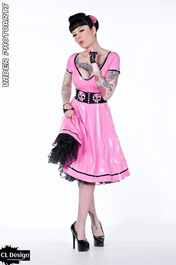 Latex Dress Swinging Skull Fifties Dress Etsy
