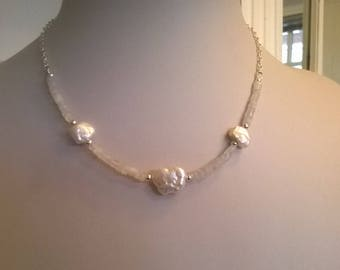Pearl and rainbow moonstone necklace