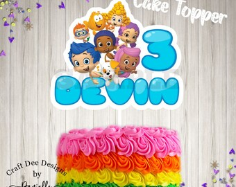 Bubble Guppies Inspired Cake Topper