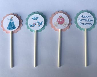 Cinderella Inspired Cupcake Toppers