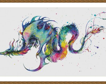 Rainbow Dragon, Watercolor Painting - Counted Cross Stitch Pattern, Cross-stitch, crossstitch, xstitch,x-stitch, chart, Instant Download PDF
