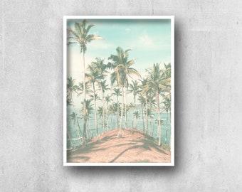 Palm Tree Print, Beach Photography, Island, Scandinavian, Palms, Mid Century Palm Trees, Modern Minimalist,