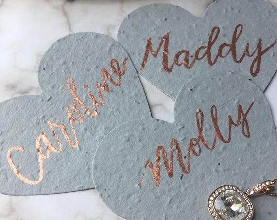Heart Shape Plantable Place Cards, Gray and Rose Gold