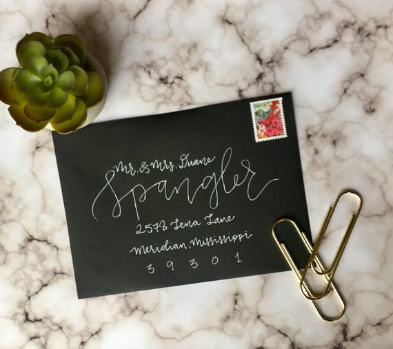 "Envelope Calligraphy for Wedding Invitations ""Raleigh"" Style, White Ink"
