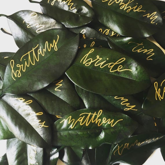"Magnolia Leaf Place Cards ""Brittany"" Style, Gold Ink"