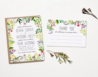 Printable Wedding Invitation - In The Meadow / Botanical Watercolour DIY Wedding Suite