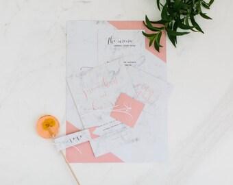 Printable Wedding Invitation - Marbelous / Modern Marble Pastel DIY Wedding Stationery Suite