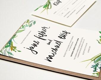 Printable Wedding Invitation - Botanical Watercolour / DIY Wedding Stationery Suite