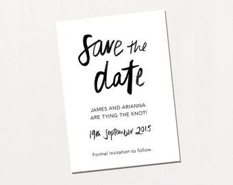 Printable Save The Date - Love Is Simple / Modern Monochrome DIY Wedding Stationery