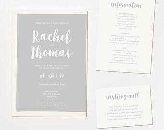 Printable Wedding Invitation - Together / Modern Script DIY Wedding Stationery Suite