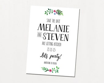 Printable Save The Date - Flower Crown / Floral Illustrated DIY Wedding Stationery