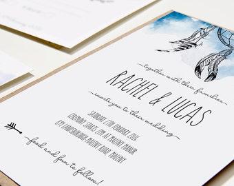 Printable Wedding Invitation - Dreamcatcher / Bohemian Printable Wedding Stationery Suite