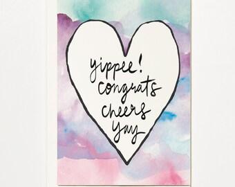 Yippee! - Congratulations Greetings Card, Bridal Card, Wedding Card