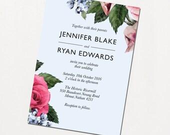 Printable Wedding Invitation - Vintage Rose / Floral Classic DIY Wedding Stationery Suite