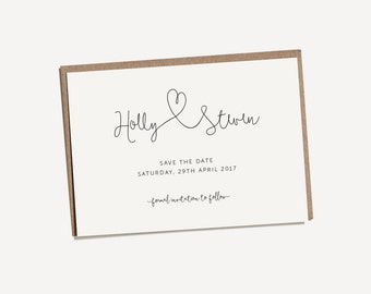 Printable Save The Date - Forever & Always / Minimal, Modern Delicate DIY Wedding Stationery