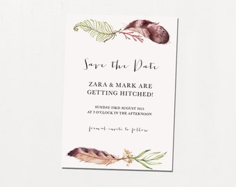Printable Save The Date - Feather & Fern / Rustic Boho DIY Wedding Stationery