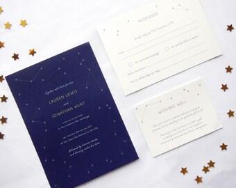 Printable Wedding Invitation - Written In The Stars / Night Sky Constellation DIY Wedding Stationery Suite