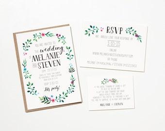 Printable Wedding Invitation - Flower Crown / Illustrated Floral DIY Wedding Stationery Suite