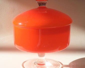 Mid-Century Empoli Orange Cased Glass Lidded Compote
