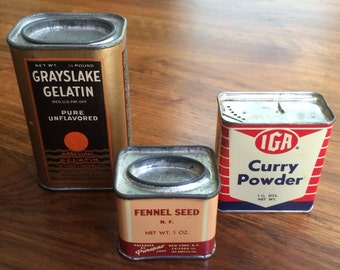Three vintage spice containers