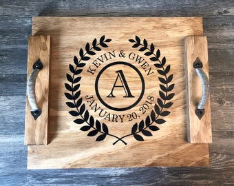 Personalized Wooden Serving Tray // Serving Tray with Names & Date // Rustic Serving Tray // Wedding Gift // Housewarming Gift // Wood Tray