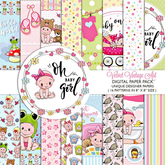 baby girl DIGITAL PAPER SCRAPBOOKING