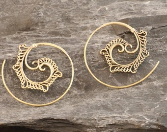 Brass earrings, spiral earrings