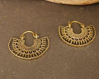 small brass earrings, hoop earrings