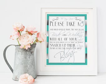 Don't Say Bride or Wedding Aqua and Silver Glitter Bridal Shower Game - Please Take A Ring - Bachelorette Game - Guessing Game - A-0001