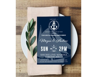 Nautical Rehearsal Dinner Invitation - Printable Editable PDF 5x7 Invites Adobe Reader - Navy & White Boat and Anchor - 0001-N2