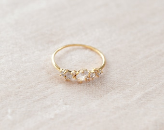 Gold Crystal Ring - Birthday Gift - Gifts For Her - Dainty Ring - Cluster Ring - Stacking Ring - Dainty Jewelry - Gold Ring - Promise Ring