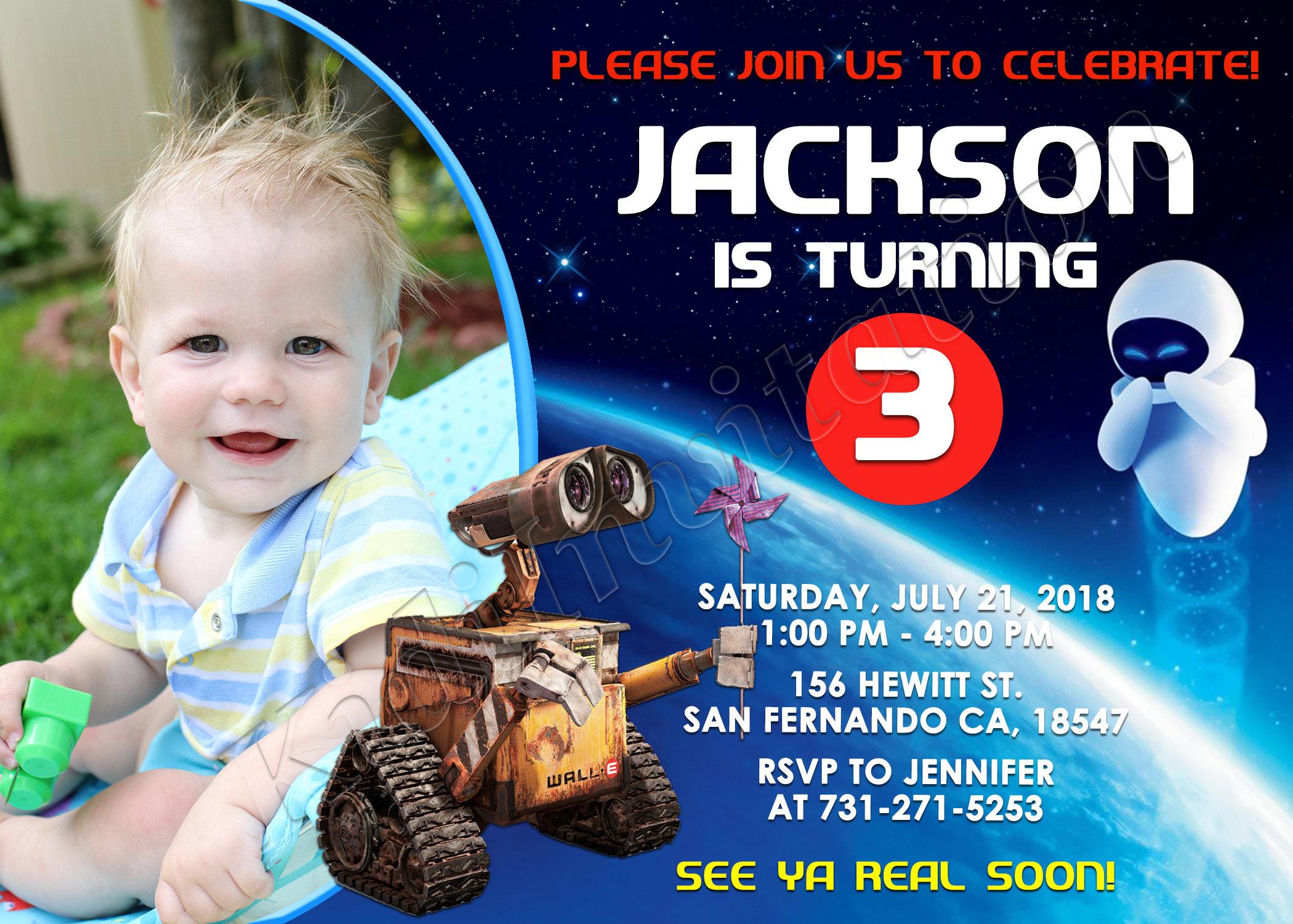 Wall E Invitation Birthday Party Invite