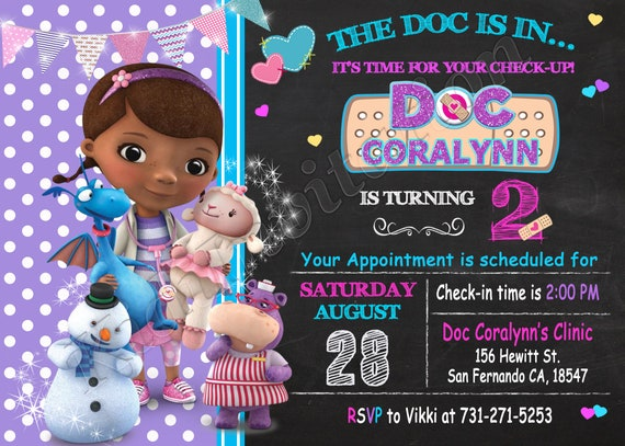 Doc McStuffins Invitation Printable Birthday