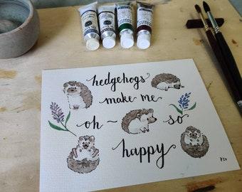 Hedgehogs Watercolor Painting