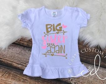 Big Sister Shirt - Big Sister Again Shirt - Sibling Shirt - Promoted To Big Sister Shirt - Big Sister Shirts - Big Sister Tee