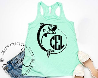 6a07ab982076cc Monogram Fish Tank - Womens Fishing Tank Top - Womens Fishing Shirt -  Monogram Fishing Tee - Monogram Fish -Womens Tank Top - Country Tank