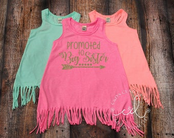 Big Sister Dress - Girls Fringe Dress - Tank Dress -Promoted To Big Sister Shirt - Sister Shirt - Sibling Tees - Big Sister Dress