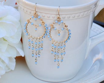 Southwestern Flair / Golden Chandelier Earrings with Baby Blue Beads