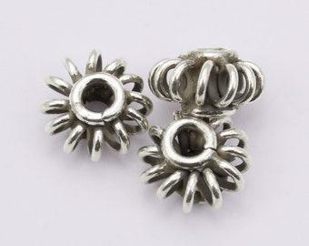 10 Per pkg 5 X 4 mm Karen Hill Tribe Silver 10 Daisy Print Rondelle Beads