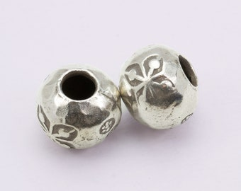 98-99/% Handcrafted Hill Tribe Silver Beads Price per 10 Pieces. Hill Tribe Silver Big Hole Flower Beads Silver Bead For Jewelry Making