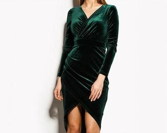 Emerald Green Velvet Dress, Long Sleeve Dress, Green Wrap Dress, Bridesmaid Dress, Cocktail Dress
