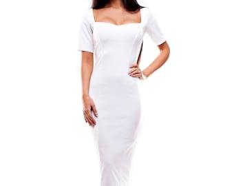 White Pencil MIDI Dress Square Neck Short Sleeve White Summer Dress StudioDress1