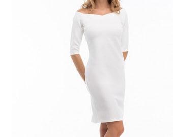 Elegant White Dress Off Shoulder Dress Midi Dress Bridesmaid Dress