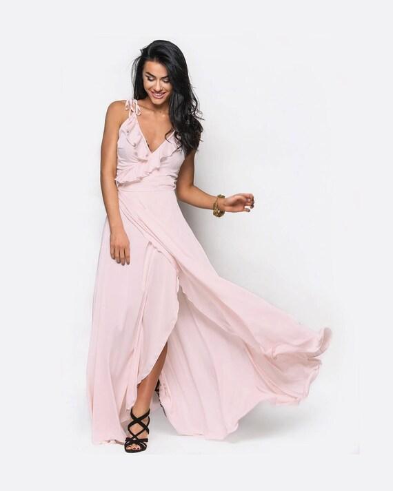 Blush rosa Brautjungfer Kleid Maxi Kleid Rüschen langen Kleid