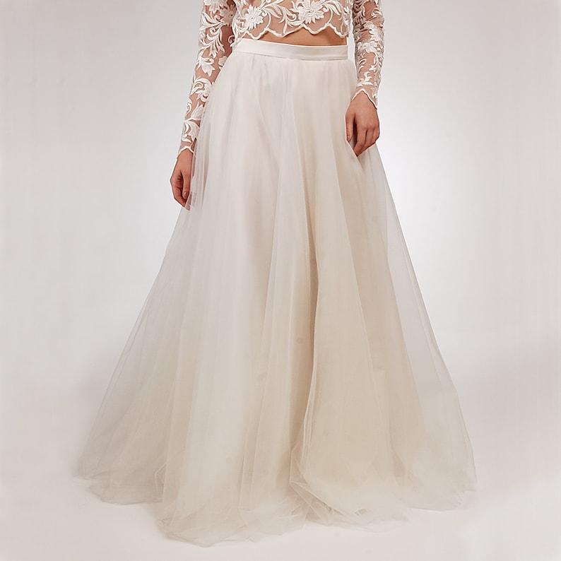 Plus Size available Ivory Wedding Skirt Tulle Bridal Skirt Long Tulle Skirt A-line Engagement Skirt
