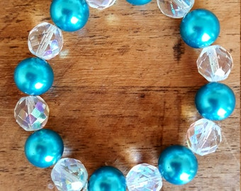 Aqua Blue and crystal bracelet