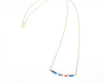Minimalist dainty sterling silver necklace with tiny beads. Silver bead bar necklace. Layering boho necklace. Colorful simple necklace.