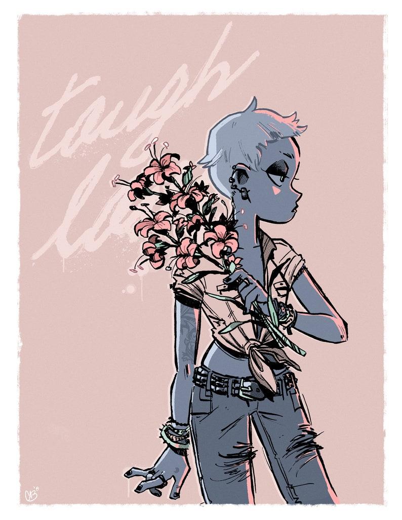 Tattoo girl wall art  Pink flower girl print image 0