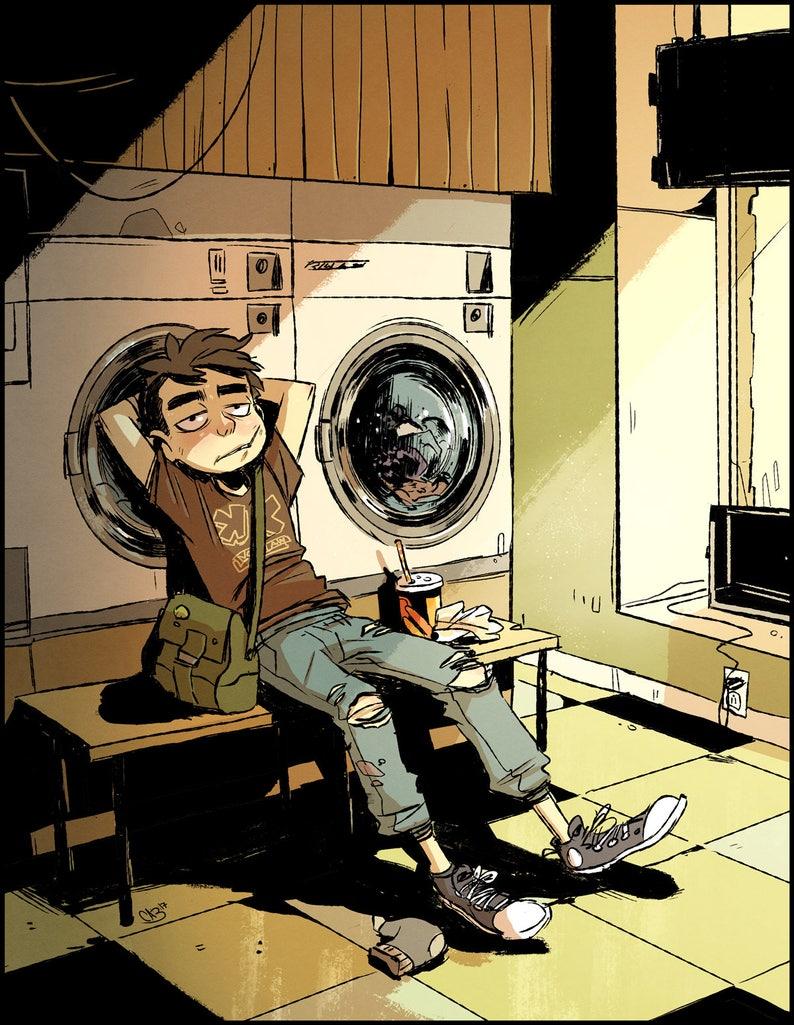 Laundromat digital art print street art grunge illustration image 0